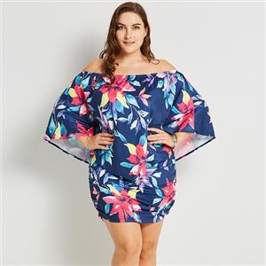 Plus Size Dress for Women, Off Shoulder Blue Dress, Plus Size Dress for Women, Bodycon Dress Plus Size, Floral Print Dark-blue Dress, Mini Dress Plus Size Blue, #N16001