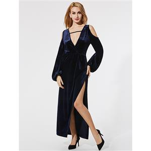 Dark-Blue Velvet Maxi Dress, Plunging V Neck Maxi Dress, Lantern Sleeve Maxi Dress, Fahion Blue Velvet Dresses, Casual Maxi Dress for Women, High Split Maxi Dresses, #N15708