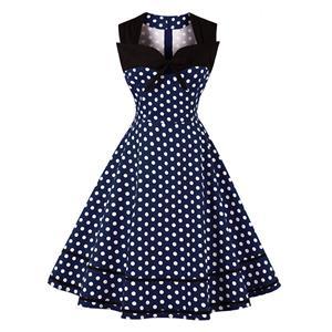Sleeveless Square Collar Dress, Sweetheart Neckline Dress, Plus Size Dress, Vintage Dress for Women, Midi Dress, Dark Blue Dot Print Dress, Elegant Dresses for Women, Back Zipper Dress Dark Blue, #N15962
