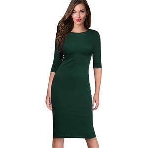 Simple Dark Green Bodycon Midi Dress, Round Neck Half Sleeve Midi Dress, Casual Plain Knee Length Pencil Dress, Round Neck Bodycon Package Hip Dress, Plain Solid Color Bodycon Midi Dress, #N16399