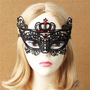 Halloween Masks, Costume Ball Masks, Black Lace Mask, Masquerade Party Mask, #MS12942