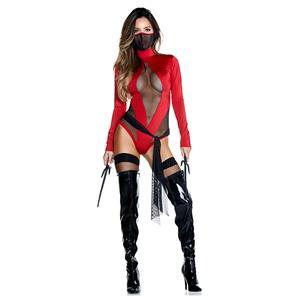 Deadly Ninja Warrior Bodysuit, Halloween High Neck Slim Fit Bodysuit, Halloween Bodycon Jumpsuit, Long Sleeve High Neck Jumpsuit, Halloween Deadly Ninja Warrior Jumpsuit for Women, Red Deadly Ninja Warrior Bodysuit , #N20997