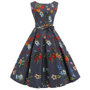 Vintage Dresses for Women, Cocktail Party Dress, Vintage Sleeveless Tank Dresses, A-line Cocktail Party Swing Dresses, Floral Print Vintage Dress, Round Neck Vintage Day Dress, #N18595