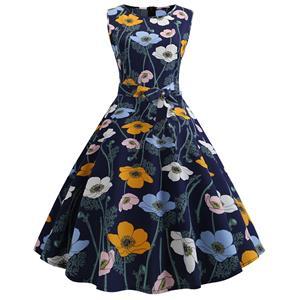 Vintage Dresses for Women, Cocktail Party Dress, Vintage Sleeveless Tank Dresses, A-line Cocktail Party Swing Dresses, Floral Print Vintage Dress, Round Neck Vintage Day Dress, #N18820