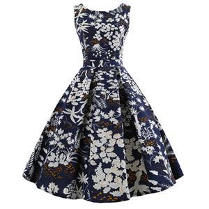 Vintage Dresses for Women, Cocktail Party Dress, Vintage Sleeveless Tank Dresses, A-line Cocktail Party Swing Dresses, Floral Print Vintage Dress, Round Neck Vintage Day Dress, #N18593