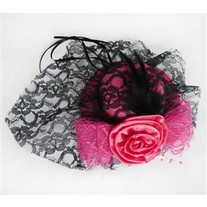 Deep Pink Lace Top Cap, Lace Rose Top Cap, Mini Top Hat, #J7327