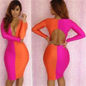 Pink & Orange Bodycon Dress, Bodycon Deep V-Neck Dresses, Cut Out Bodycon Club Dress, #N6569