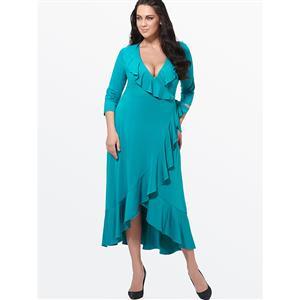 Evening Party Dress, Fishtail Maxi Dress, Fashion Green Dress, Hot Sale Long Sleeve Dress, Plus Size Party Dress, #N14547