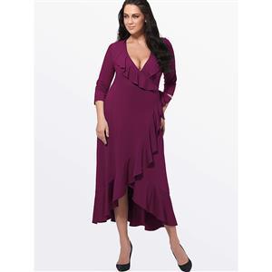 Evening Party Dress, Fishtail Maxi Dress, Fashion Purple Dress, Hot Sale Long Sleeve Dress, Plus Size Party Dress, #N14548