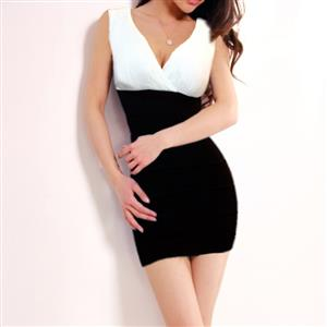 V-Neck Stretch Bodycon Dress, Sleeveless Color Block Package Hip Dress, White and Black Cocktail Evening Dress, #N9080