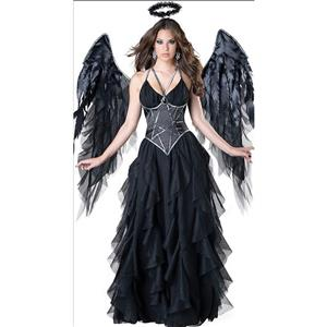 Deluxe Adult Noble Elegant Fallen Angel Halloween Fancy Ball Cosplay Costume with Wing N18247