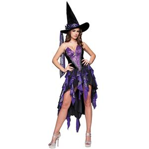 Deluxe Bewitching Beauty Costume, Deluxe Purple Witch Costume, Deluxe Adult Witch Costume, Sexy Halloween Witch Costume, Sexy Purple Rag Hemline Witch Costume, Webbed Purple Witch Costume#W6336
