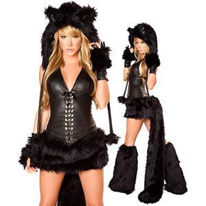 Deluxe Black Cat Costume, Deluxe Black Cat Corset Skirt and Tail, Adult Black Cat Costume, Black Cat Hood, #M2458