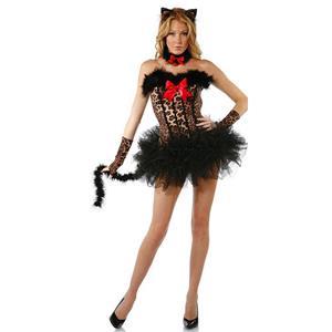 a8451eb42b4 4pcs Women s Sexy Leopard Corset and Tutu Skirt Cosplay Costume Set ...