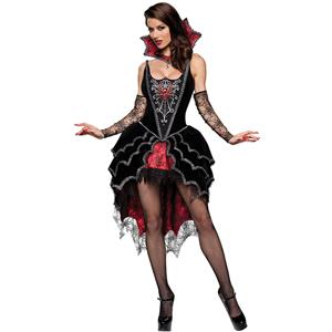 Deluxe Dark Webbed Mistress Costume, Deluxe Vampire Costume, Sexy Dark Vampire Costume, Gothic Red-Black Webbed Vampire Costum, Black Lace Webbed Gothic Costum, Dark Vampire Queen Holloween Costume#N6311