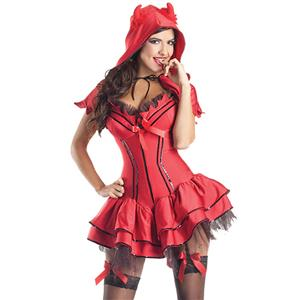 Deluxe Devil Costume, Devil Body Shaper Costume, Devil Corset Costume, Sexy Koakuma Red Costume, Nitty Devil Costume, Sexy Devil Halloween Costume #N5909