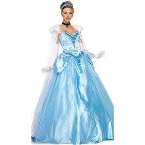 Deluxe Adult Princess Cosplay Costume, Deluxe Princess Costume, Princess Cosplay Costume, Noblity Celeste Ball Dress Costume, Elegant Blue Tee Dress Costume, Adult Pantomime Costume#N6185