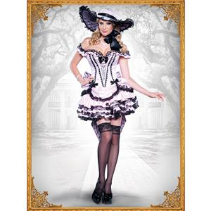 Deluxe Southern Belle Costume, Dixie Darling Costume, Noble Southern Beauty Costume, Sexy Pink Black Lace Tiered Dress, Deluxe Pink Off-shoulder Princess Costume, Elegant Pink Tiered Dress#N9048