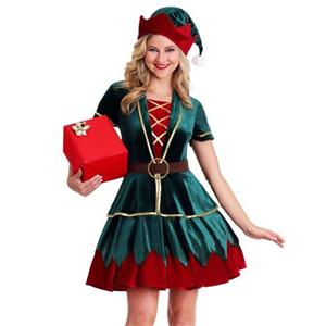 4pcs Deluxe Elf Christmas Party Holiday Velvet Mini Dress Costume with Hat XT19769