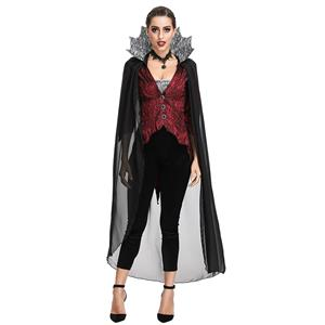 Nobility Vampire Evil Queen Stand Collar Theatrical Halloween Cosplay Costume N19196