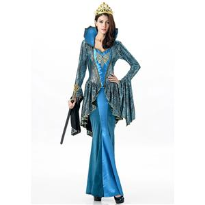 Deluxe Evil Queen Costume, Deluxe Blue Queen Costume, Medieval Costume, Mermaid Costume, King and Queen Costume, Sea Queen, #N11689