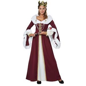 Queen Adult Costume, Hot Sale Halloween Adult Costume, Fashion Cosplay Costume, Medieval Queen Adult Costume, Deluxe Medieval Queen Costume, Women