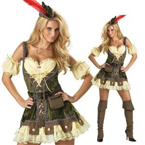 sexy Robin Hood lady Costume, adult Robin Hood halloween Costume, Deluxe Racy Robin Hood Costume,  #M822