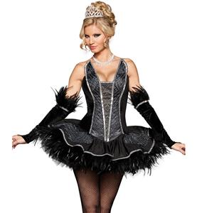 Deluxe Seductive Swan Costume, Feather Swan Costume, Black Swan Halloween Costume, #N5103