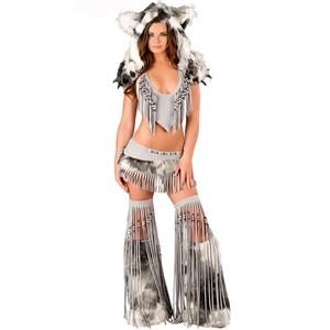 Deluxe Sexy Silver Indian Costume, White Fringe Indian Costume, Silver Indian Costume, #N6203