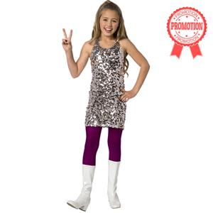 Disco costume for girl, Kids Costumes, sewuined silver dress, #N5971