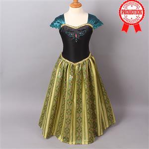 Frozen Princess Anna Costume, Cap Sleeves Frozen Anna Dress, Disney Princess Anna Coronation Day Dress, #N8964