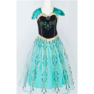 Frozen Princess Anna Costume, Cap Sleeves Frozen Anna Dress, Disney Princess Anna Ball Dress, #N9121