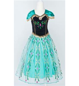 Frozen Princess Anna Costume, Cap Sleeves Frozen Anna Dress, Disney Princess Anna Ball Dress, #N9121