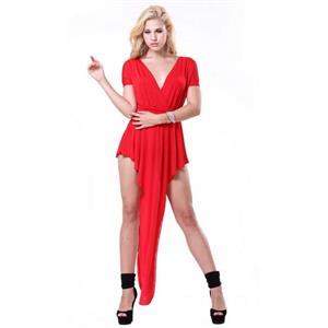 Distinctive Red High Waist Symmetrical Drape Dress N9877