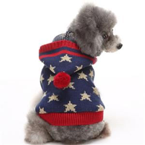 Pet Sweater, Pet Clothing for Small Dog, Dog Christmas Costume, Christmas Hooded Star Print Dog Sweater, #N12373