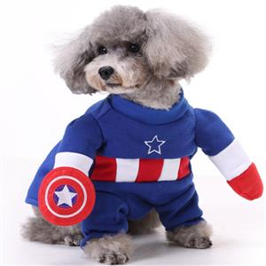 Dog Captain America Costume, Pet Dressing up Party Clothing, Dog