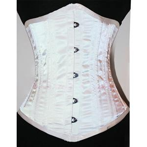 Double Boned Underbust Corsets, White Steel Bones Underbust Corset, Satin Waist Training Underbust Corset, #N8846