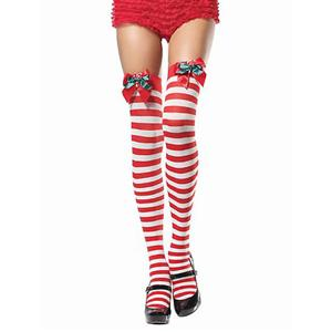 Double Bow Candy Cane Stockings,Thigh High Stockings, sexy Santa Stockings, #HG2845
