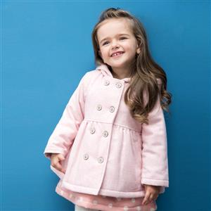 Double-Breasted Hooded Woolen Coat, Girls Woolen Coats, Winter Clothing for Girls, #N12322