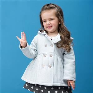 Double-Breasted Hooded Woolen Coat, Girls Woolen Coats, Winter Clothing for Girls, #N12324