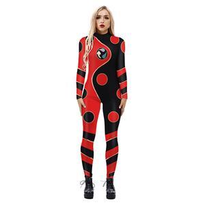 Dragon Bug Printed Jumpsuit, Halloween Dragon Bug High Neck Slim Fit Bodysuit, Halloween Bodycon Jumpsuit, Long Sleeve High Neck Jumpsuit, Halloween Dragon Bug Jumpsuit for Women, #N21251