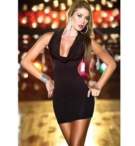 Cowl Neckline Mini Dress, Back Ring Halter Sexy Mini Dress, Low Open Back Mini Dress, #N8491
