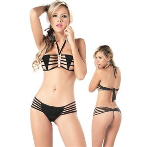 Strappy Bandeau Top and Matching Thong, Strappy Lingerie, Strappy Erotic Lingerie, Lingerie Strappy, #C1742
