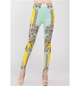 Yellow Geometric Print Jeans,  Elegance Exotic Print Leggings, Yellow and Blue Floral Print Jeggings, #L7471