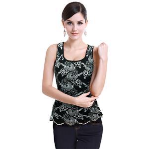 Sexy Black Vest Tops, Beading Top Vest, Cheap Sleeveless Tops, Women