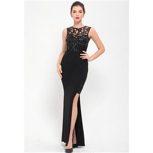 Cheap Clubwear Dress, Sexy Black Gown, Hot Sale Sleeveless Dress, Evening Party Dress, Sexy Lace Long Gown For Women, Fishtail Gown, #N12648