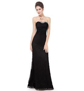 Black Long Evening Dress, Lace Dress for Women, Evening Party Dress for Women, Sexy Sweetheart  Sleeveless Lace Dress, Plus Size Dress, #N11130