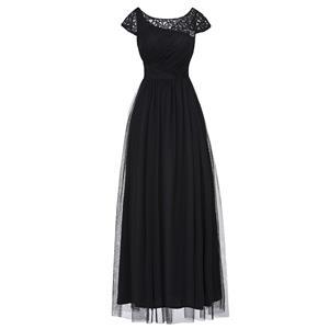 Cap Sleeve Round Collar Evening Gowns, Black High Waist Ruched Evening Dress, Hollow A-Line Long Evening Dress, Women