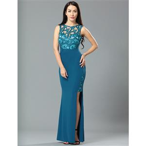 Cheap Clubwear Dress, Sexy Blue Gown, Hot Sale Sleeveless Dress, Evening Party Dress, Sexy Lace Long Gown For Women, Fishtail Gown, #N12649
