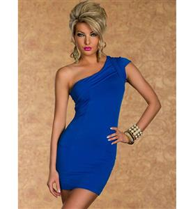 One Shoulder Blue Dress, Stretchy One Shoulder Dress, Cap Sleeve Gather Top Dress, #N7840